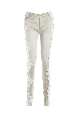 Best Pockets Lace Insert Skinny Jeans LIGHT APRICOT S