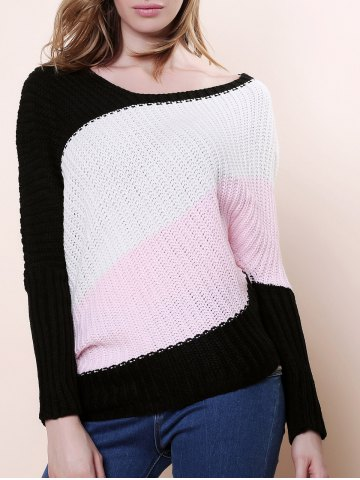 Sweet Style Scoop Neck Batwing Sleeve Color Stripe Knitting Women's Sweater