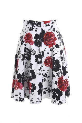 Vintage Style High-Waisted Floral Print A-Line Women's Skirt - Red With White - S