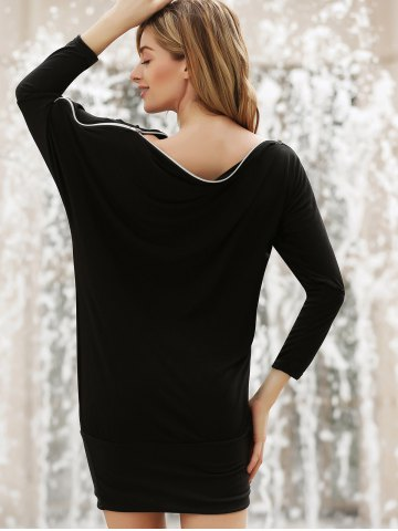 Buy Long Zipper Embellished Long Sleeve T-Shirt - ONE SIZE BLACK Mobile
