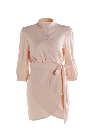 Elegant Stand Collar Solid Color Lace-Up 3/4 Sleeve Wrap Dress For Women - Pink - One Size(fit Size Xs To M)