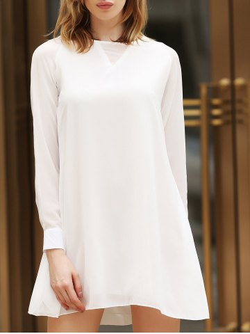 Buy Flounce Long Sleeve Chiffon Shift Dress