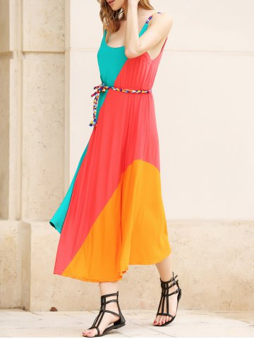 Sale Striped Irregular Hem Ranibow Maxi Dress With Belt AS THE PICTURE ONE SIZE