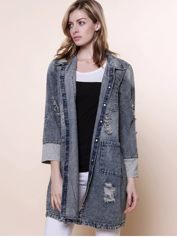 Best Vintage Turn-Down Collar Long Sleeve Hole Design Denim Women's Coat