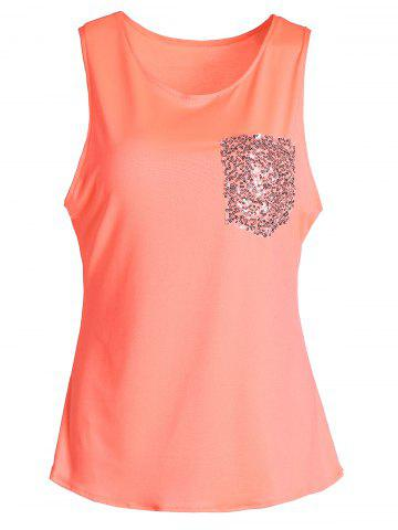 Buy Stylish U-Neck Sleeveless Sequined Women's Tank Top