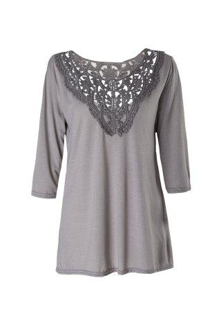 Latest Brief Round Neck 3/4 Sleeve Hollow Out Spliced Women's T-Shirt - M GRAY Mobile