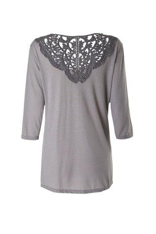 Affordable Brief Round Neck 3/4 Sleeve Hollow Out Spliced Women's T-Shirt - M GRAY Mobile