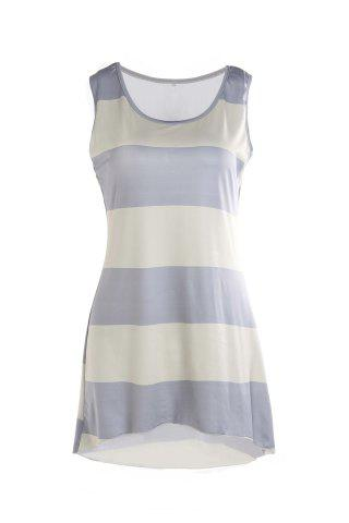 Fancy Stylish Scoop Collar Sleeveless Striped Asymmetrical Women's Tank Top