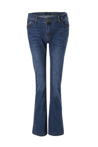 Outfits Stylish Mid-Waisted Boot Cut Deep Blue Women's Jeans
