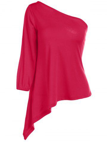 Discount Sexy One Shoulder 3/4 Sleeve Red T-Shirt For Women