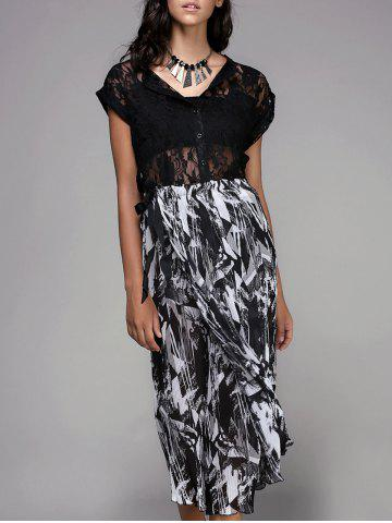 Latest Trendy Hollow Out Button Design Black Blouse + Elastic Waist Printed Pleated Pants Women's Twinset