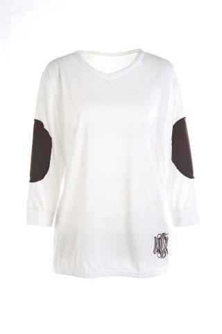 Discount Casual V-Neck Letter Embroidery Long Sleeve T-Shirt For Women - S WHITE Mobile