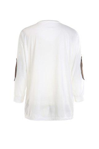 Shops Casual V-Neck Letter Embroidery Long Sleeve T-Shirt For Women - XL WHITE Mobile