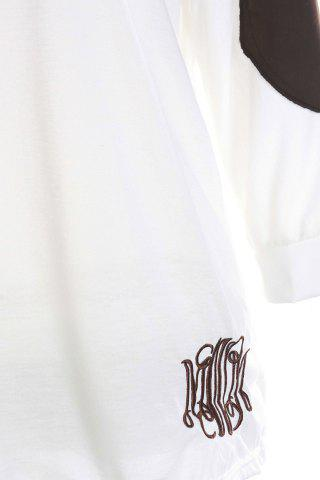 Online Casual V-Neck Letter Embroidery Long Sleeve T-Shirt For Women - XL WHITE Mobile