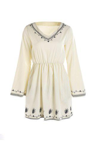 Mini Long Sleeve V Neck Casual Dress - White - M