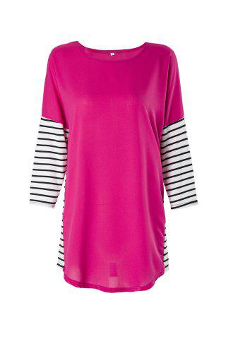 Affordable Fashionable Jewel Neck 3/4 Sleeve Striped Spliced T-Shirt For Women - S ROSE Mobile