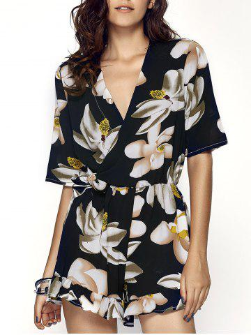 Affordable Trendy V-Neck Floral Print Slimming Women's Romper