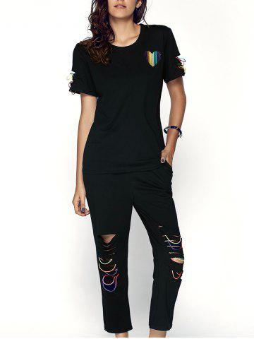 Trendy Women's Heart Pattern Spliced T-Shirt + Drawstring Ripped Capri Pants Twinset - Black - Xl