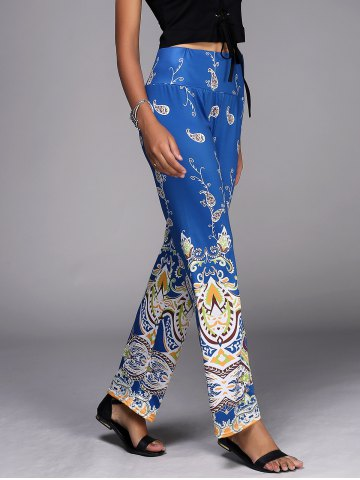 Trendy Paisley Pattern Wide Leg Exumas Pants DEEP BLUE S