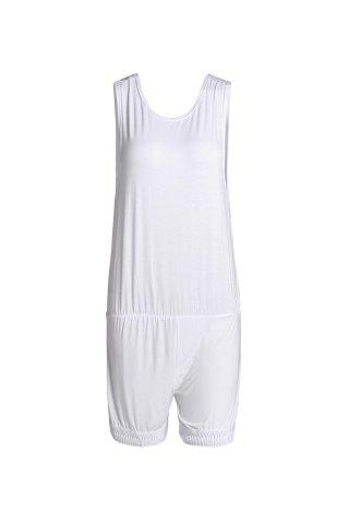 Chic Casual Style Round Neck Sleeveless White Open Back Tassel Women's Playsuit WHITE L