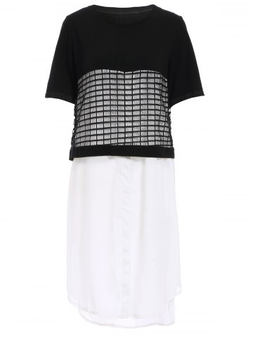Outfits Stylish Round Collar Short Sleeve Mesh Panelled Dress For Women