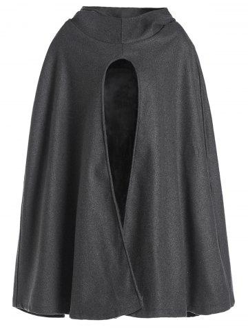 Noble Hooded Solid Color High Slit Loose Cloak For Women - GRAY M