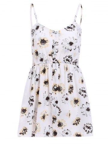 Discount Stylish Strappy Floral Print Romper For Women