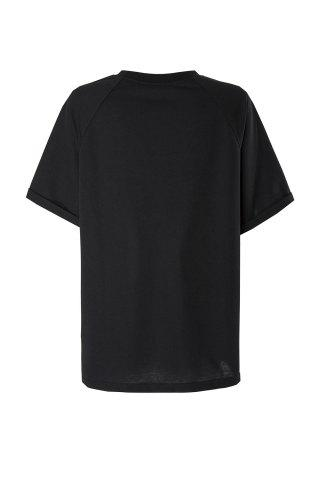 Shop Casual Round Neck Short Sleeve Pure Color Loose-Fitting Women's T-Shirt - XL BLACK Mobile