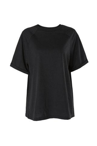 Store Casual Round Neck Short Sleeve Pure Color Loose-Fitting Women's T-Shirt - XL BLACK Mobile