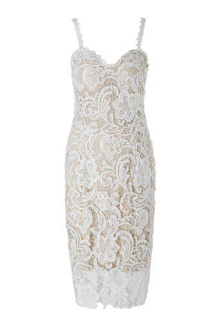 Online Tight Lace Embroidered Hollow Out Prom Dress