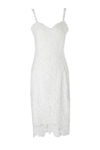 Discount Alluring Spaghetti Strap Lace Embroidered Dress For Women - S WHITE Mobile