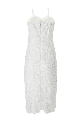 Buy Alluring Spaghetti Strap Lace Embroidered Dress For Women - S WHITE Mobile