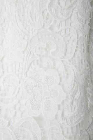 Fashion Alluring Spaghetti Strap Lace Embroidered Dress For Women - S WHITE Mobile