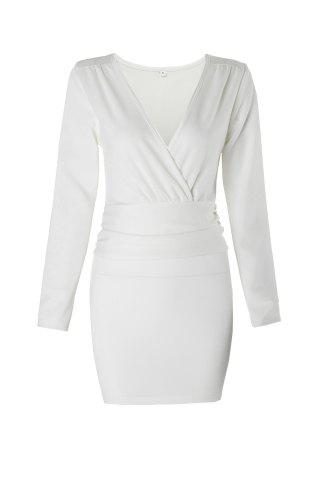 Buy Mini Bodycon Long Sleeve Plain Dress WHITE S