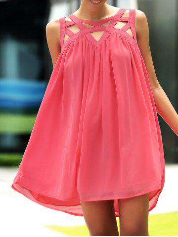 Buy Stylish Round Neck Sleeveless Hollow Out Dress For Women