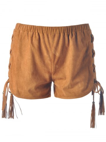 Buy Women's Chic Lace-Up Pure Color Shorts CAMEL S