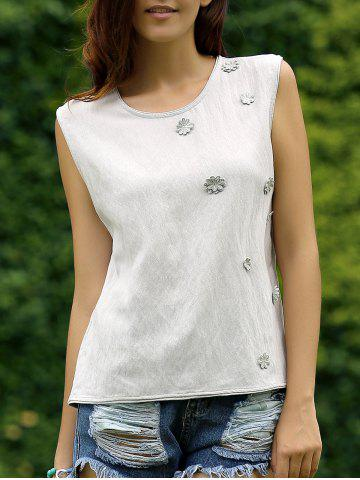 Latest Floral Embroidery Back Button Top For Women