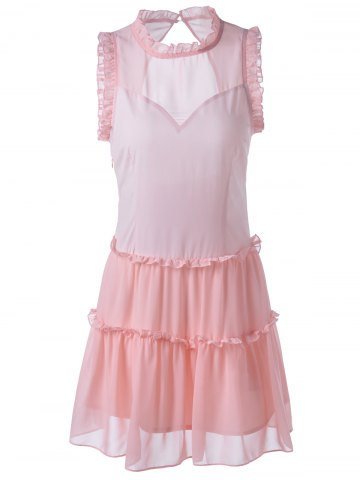 Store Fitted Ruffle Neck Sleeveless Knee-Length Dress LIGHT PINK S