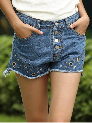 Tomboy Style Button Hollow Out Rivet Decorated Women's Jeans Shorts от Rosegal.com INT