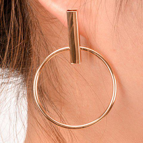 Store Pair of Vintage Circle Geometric Earrings GOLDEN