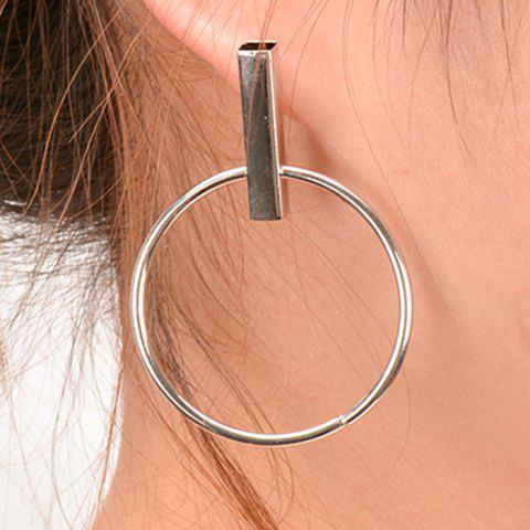 Cheap Pair of Vintage Circle Geometric Earrings SILVER