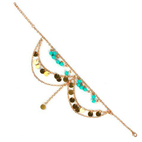 Hot Vintage Sequins Beads Anklet For Women - GOLDEN  Mobile