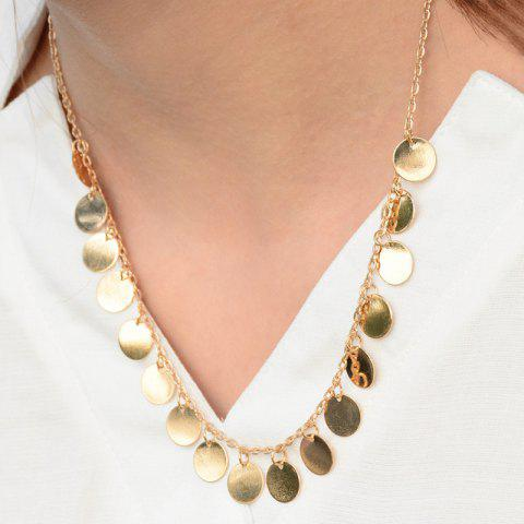 Vintage Alloy Round Tassel Necklace - Golden