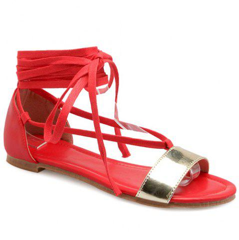 Unique Casual Lace-Up and Color Block Design Sandals For Women