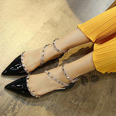 Affordable Stylish Hit Colour and Rivets Design Flat Shoes For Women - 39 BLACK Mobile