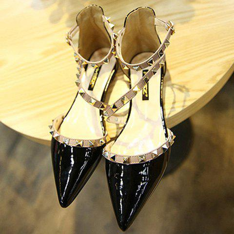 New Stylish Hit Colour and Rivets Design Flat Shoes For Women - 39 BLACK Mobile