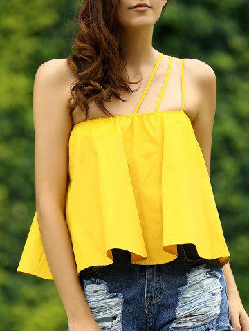 Affordable Sweet Spaghetti Strap Soild Color Loose-Fitting Blouse For Women
