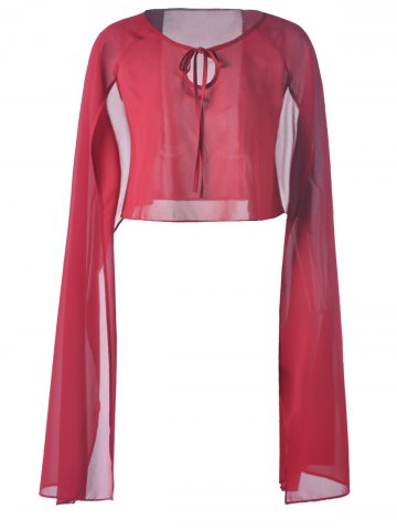 Cheap Fashionable Chiffon Pure Color Top For Women DEEP RED S