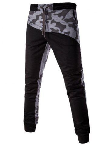 Affordable Casual Splicing Lace Up Jogger Pants BLACK L