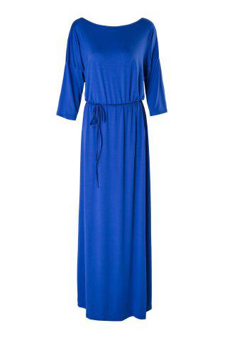 Casual solide Couleur Slash cou à manches 3/4 Plus Size Dress For Women Bleu Violet 3XL